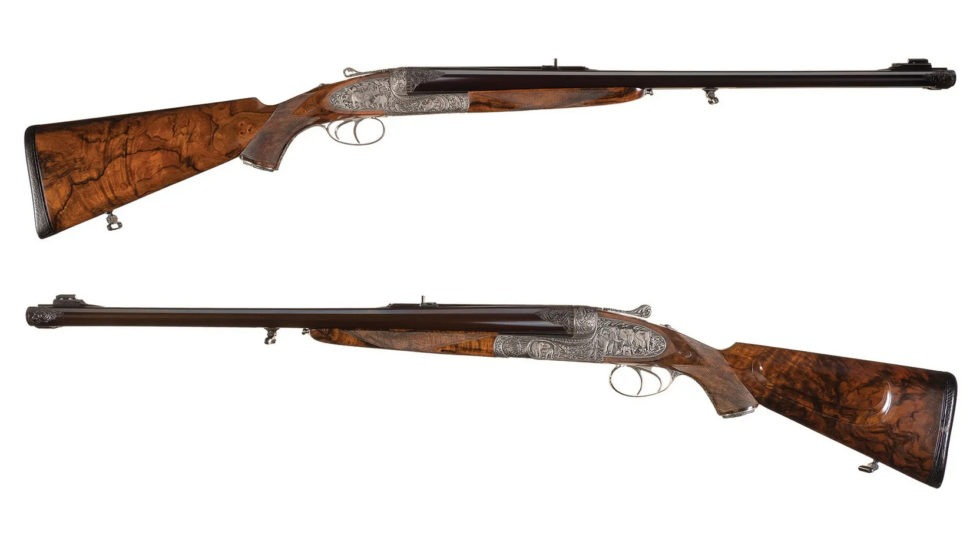 Holland and Holland Phillippe Grifnee Signed .600 and .700 Nitro Express Double Rifles