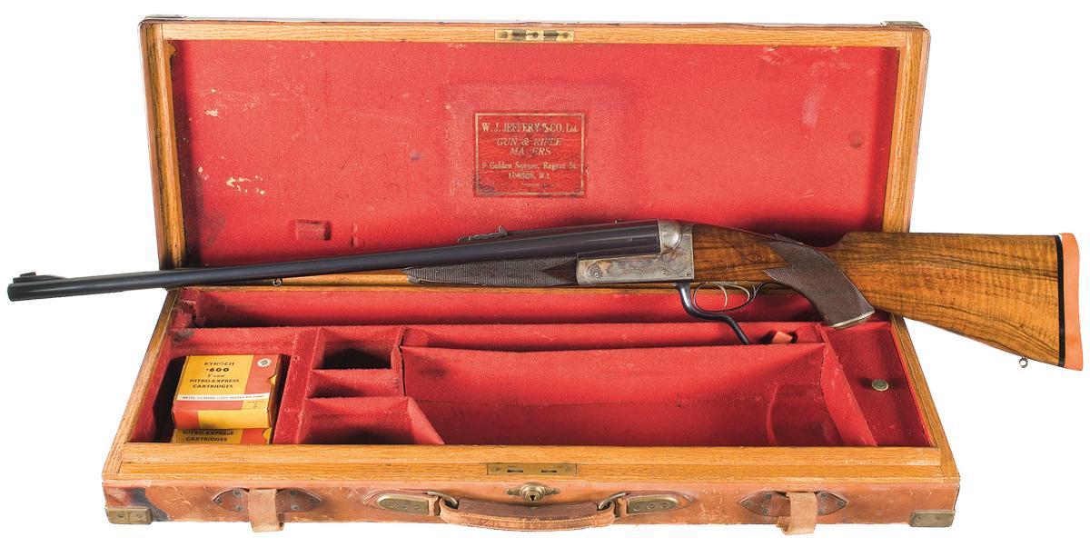 Jeffrey double rifle cased