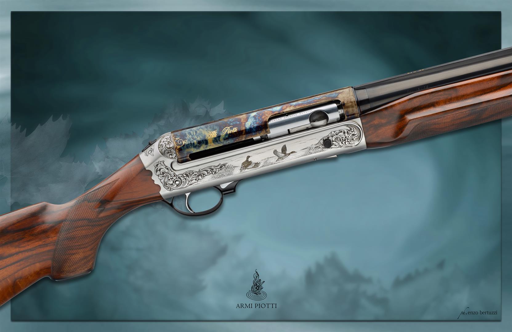 Piotti Benelli shotgun tartarugato color case hardening