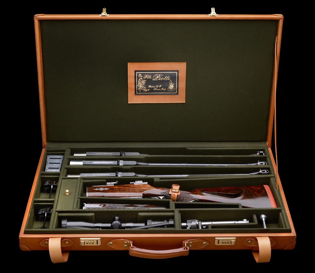 Piotti bolt action rifle cased