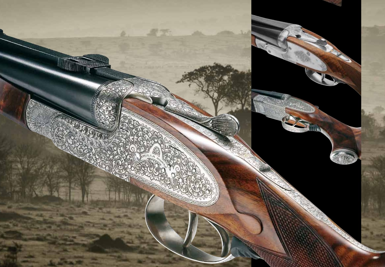 Grulla Armas double rifle engraving