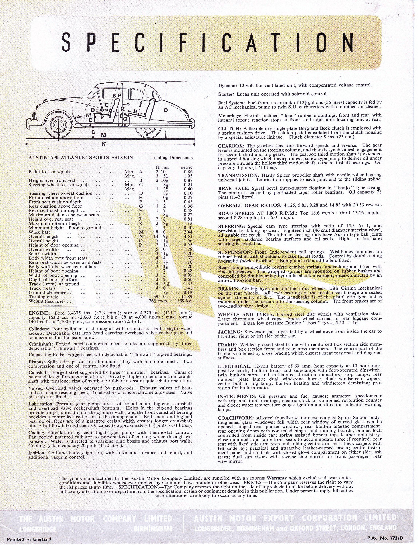Austin A90 Atlantic specifications