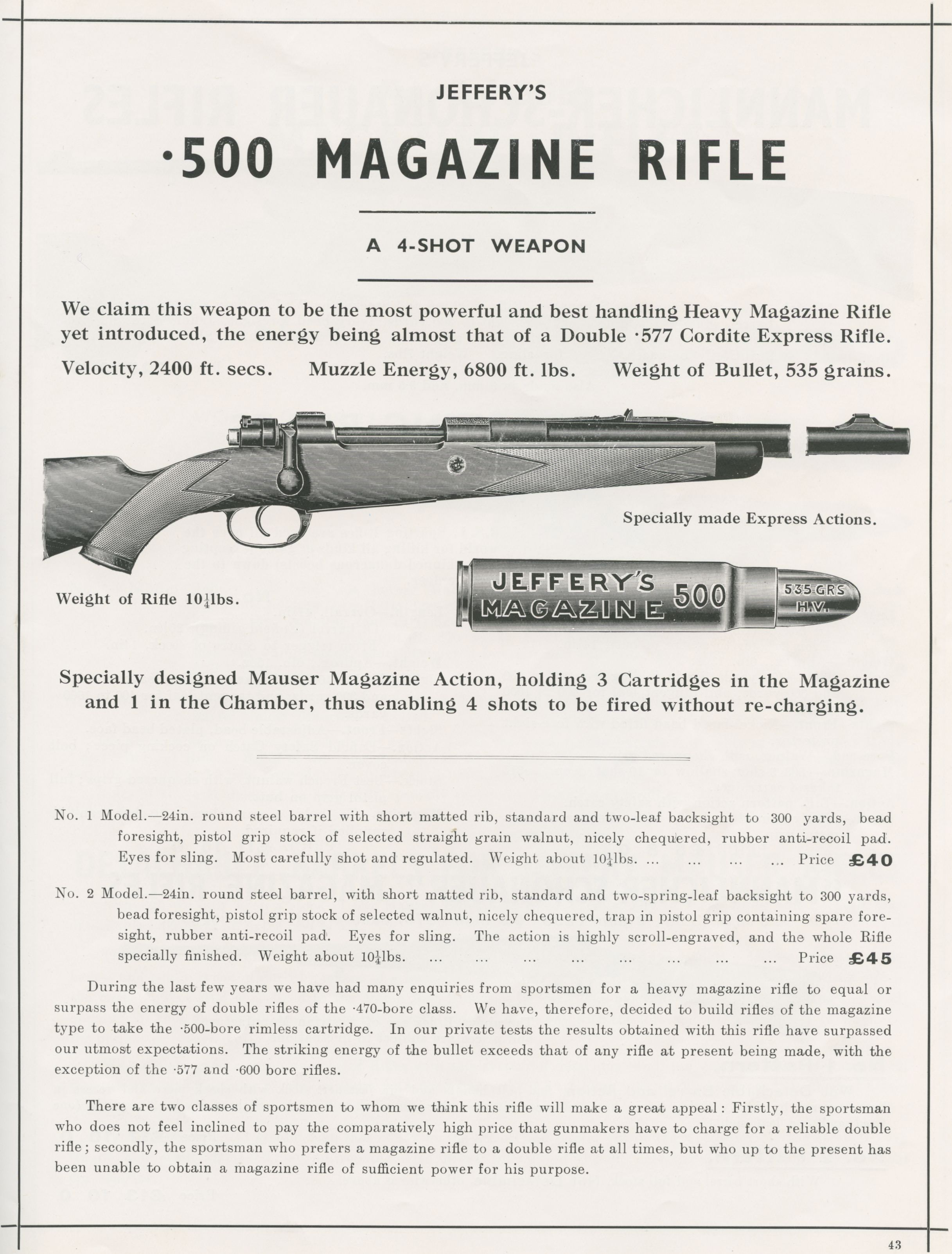 Jeffery advertisement for his Express rifles