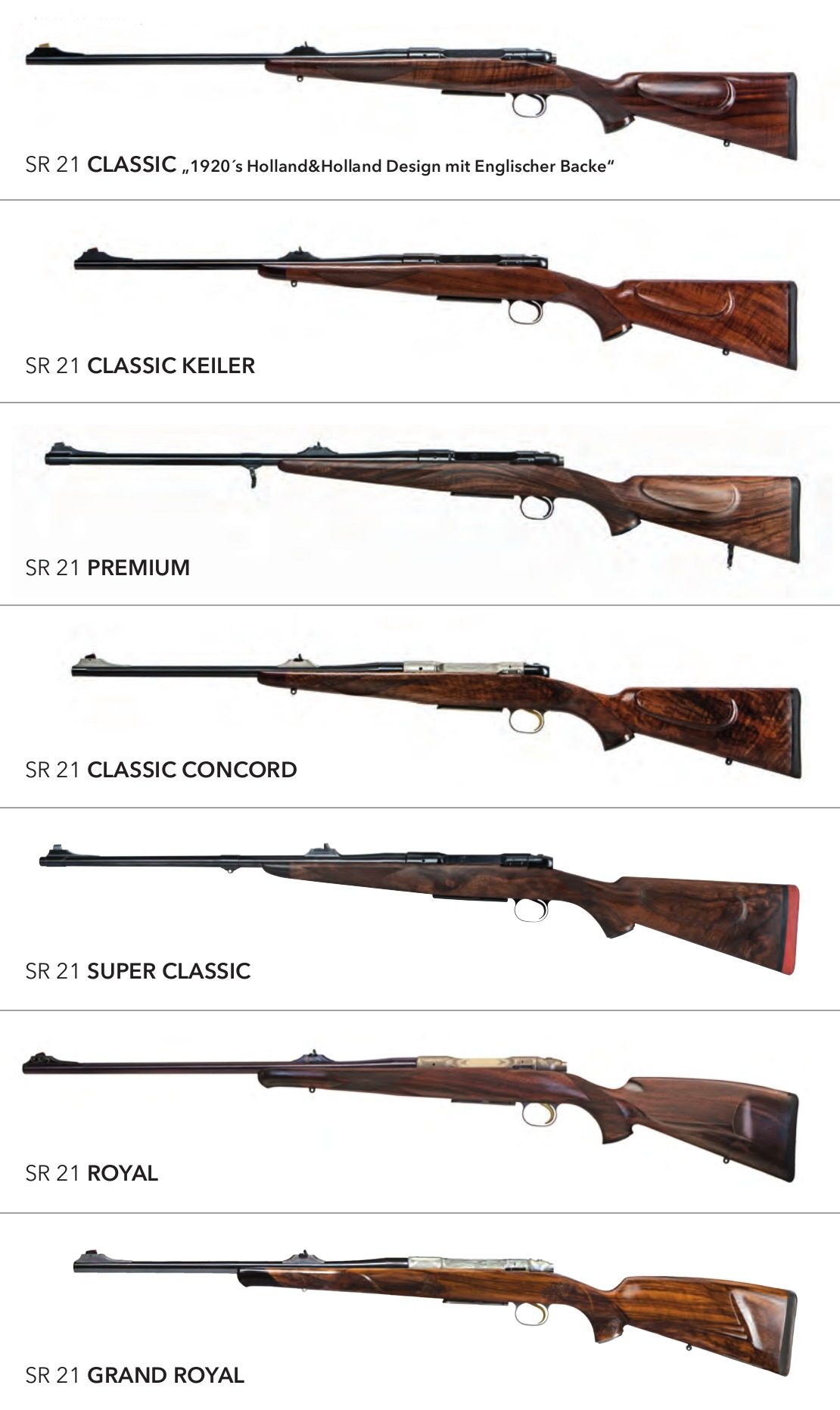 Heym SR21 sporting rifle model range