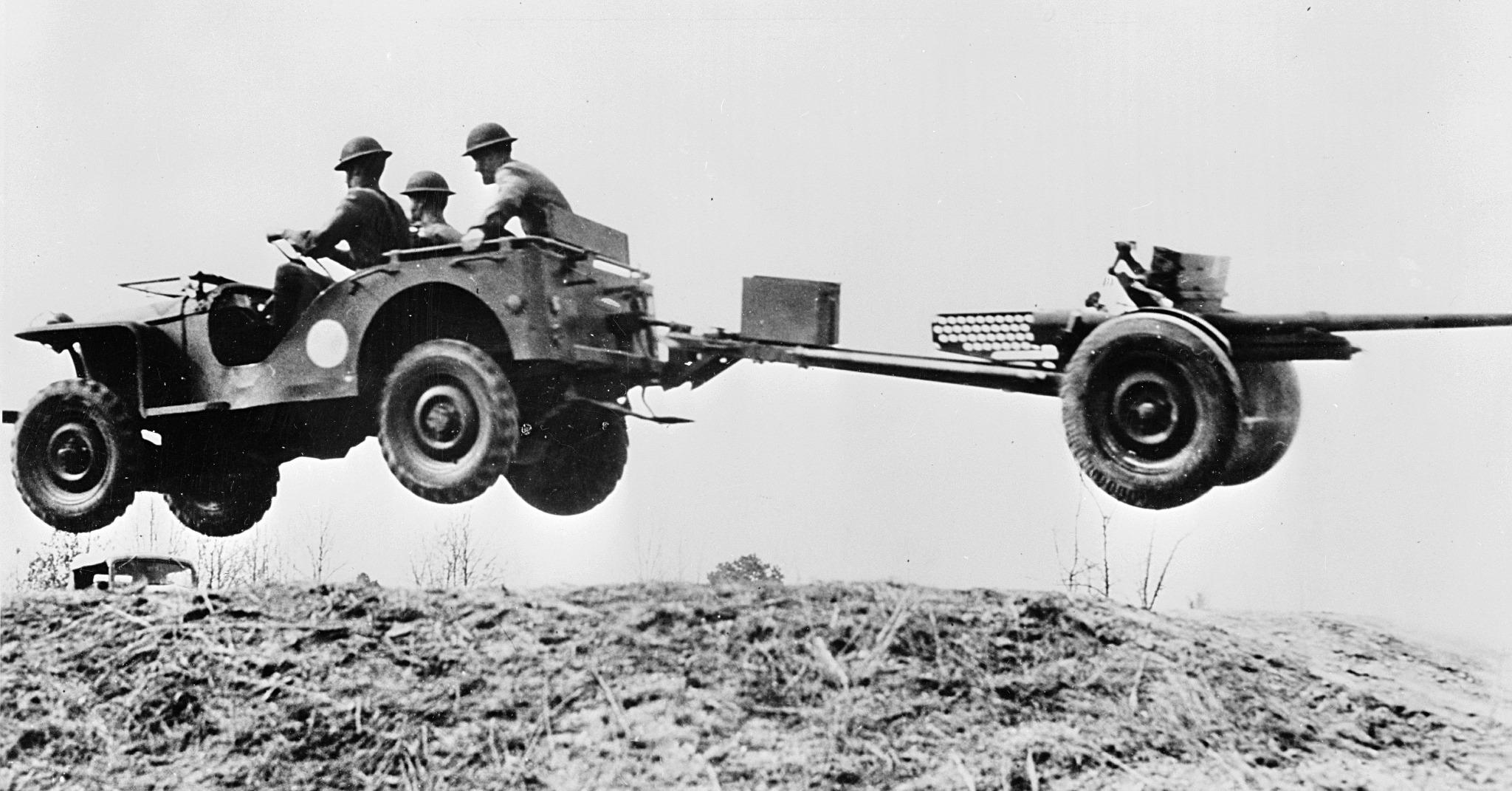 Bantam Reconnaissance Car flying Jeep