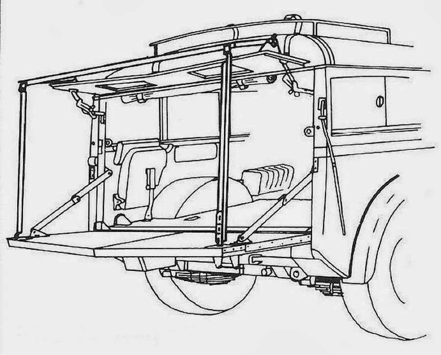 "Humber Heavy Utility ""Box"" military vehicle rear tailgate"