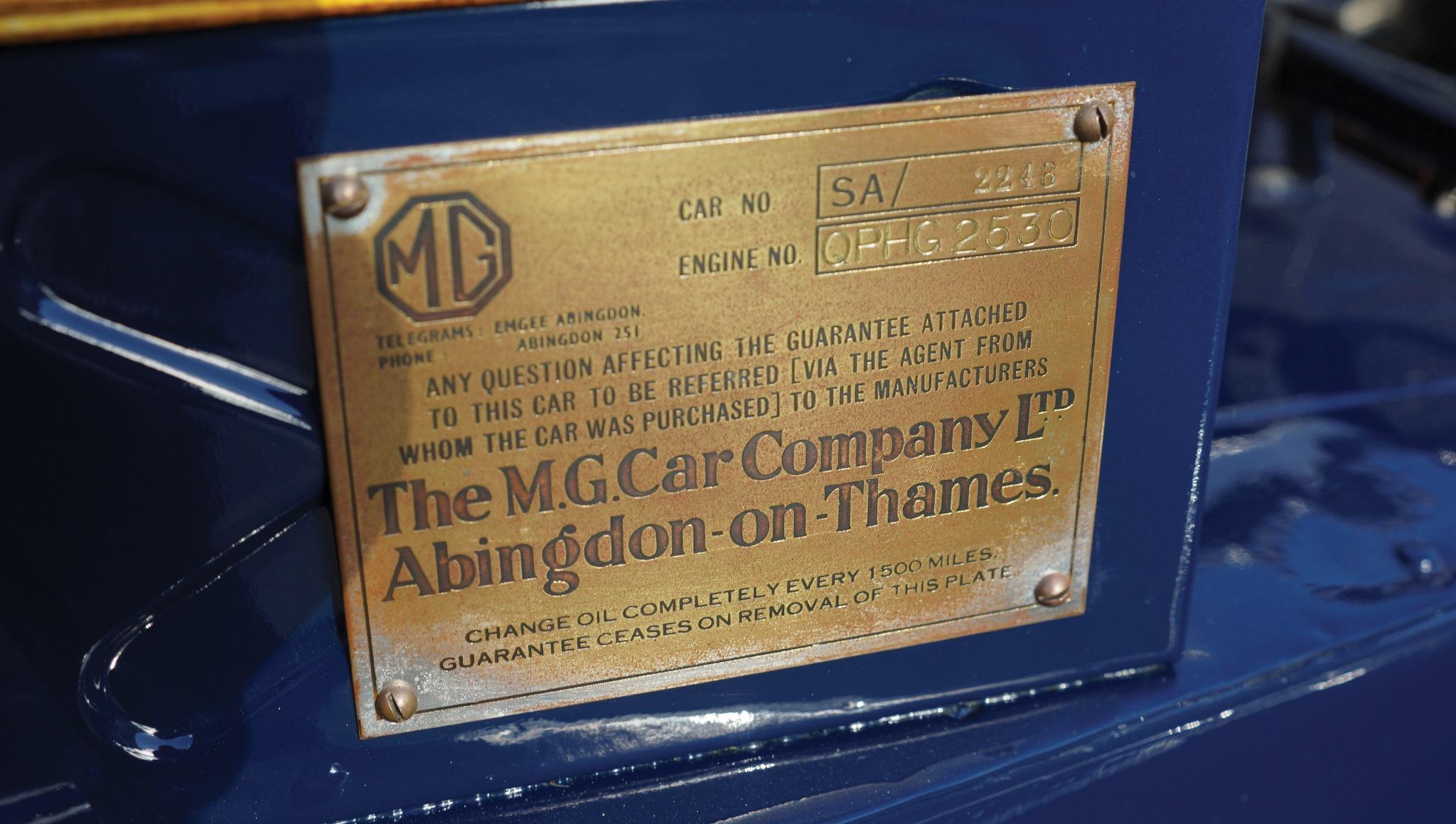 MG SA manufacturer plate