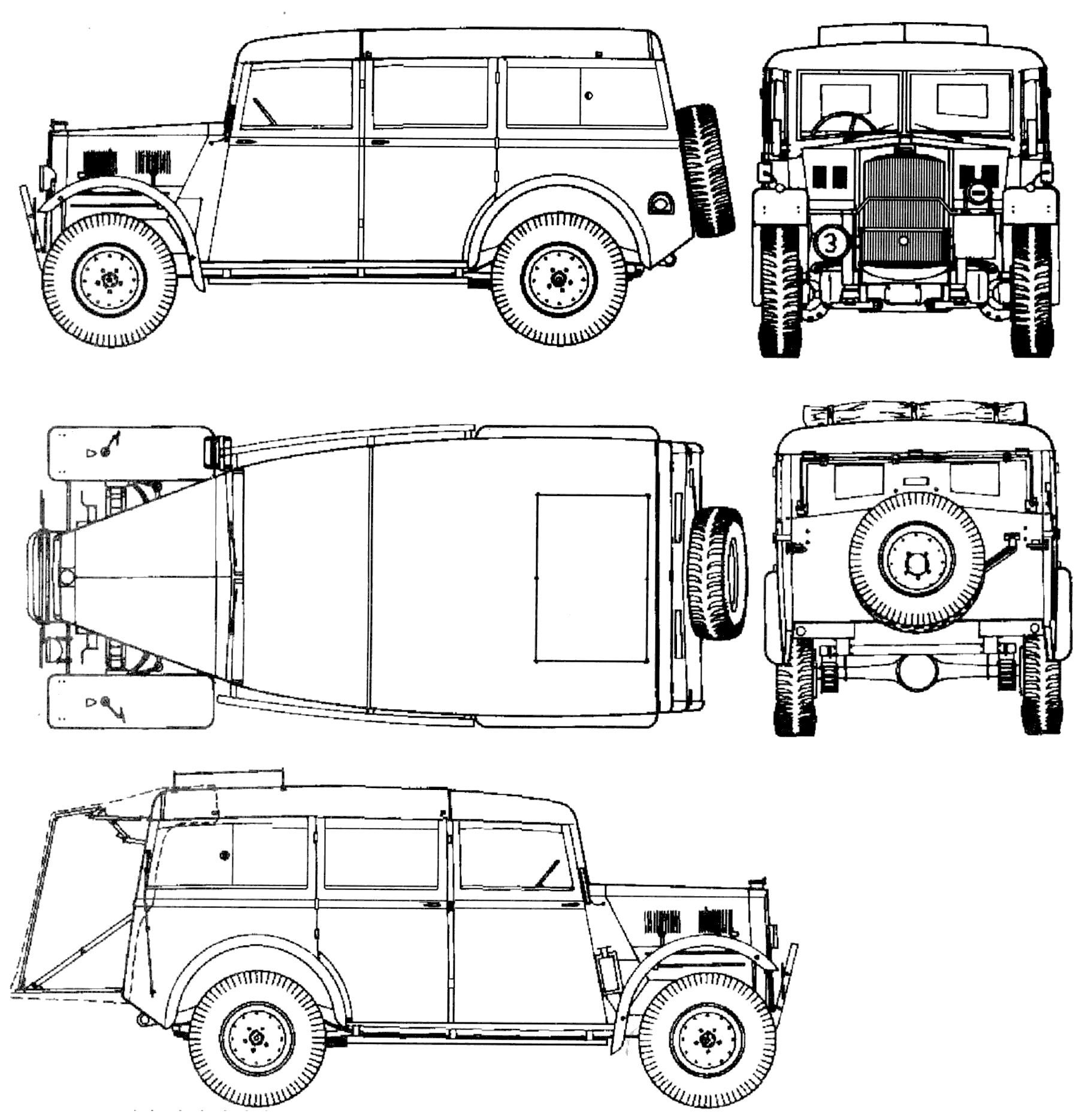 "Humber Heavy Utility ""Box"" military vehicle diagram"