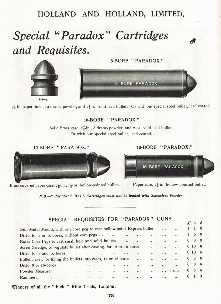 Holland and Holland Paradox gun ammunition